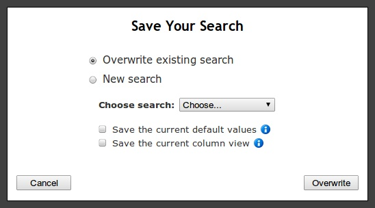 Overwrite Saved Search