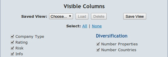 Screenshot of Visible Columns Panel